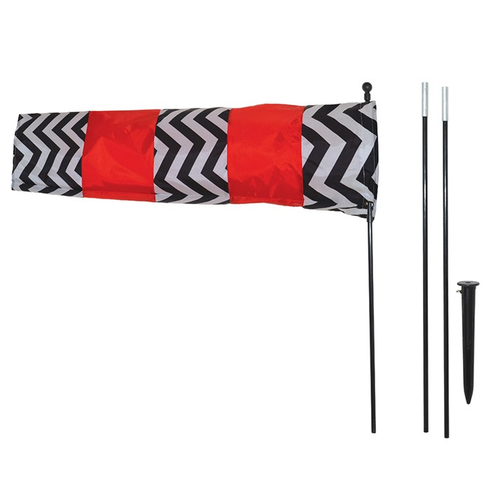 Red and Black Directional Windsock with 8 foot Pole | In the Breeze