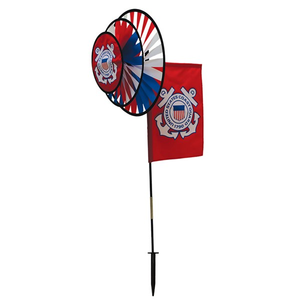 View U.S. Coast Guard Dual Spinner Wheels with Garden Flag