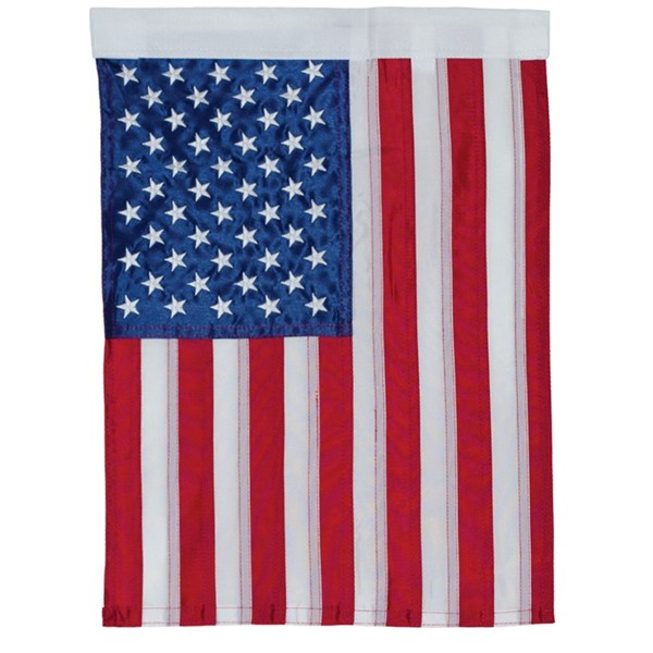 View US Flag Embroidered Garden Flag