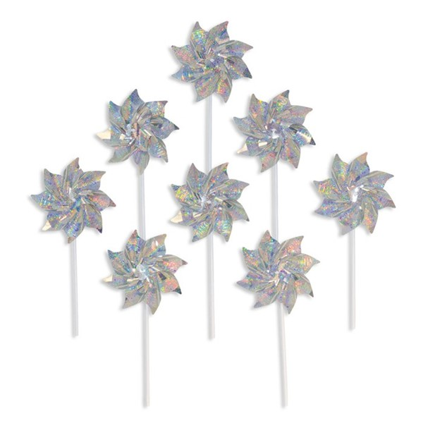 View Silver Sparkle Pinwheels - 8 PC