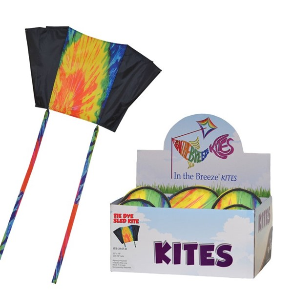 View Tie Dye and Black Sled Kite 24 PC Display