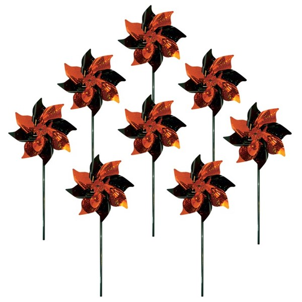 View Orange & Black Mylar Pinwheels - 8 PC