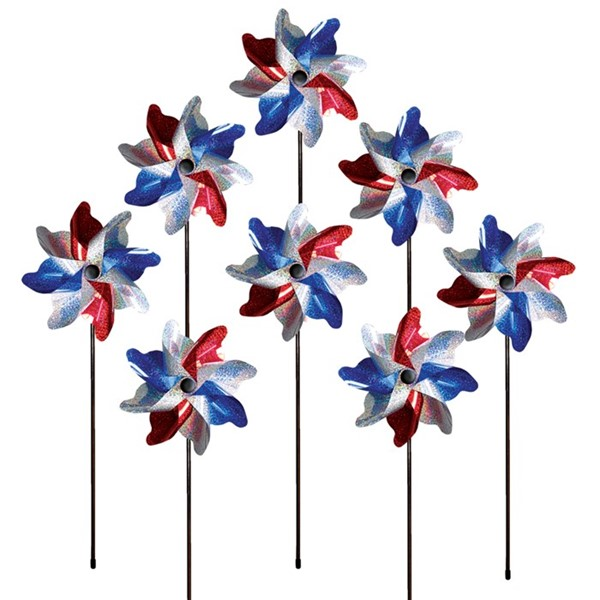 View Red, White & Blue Sparkle Pinwheel Spinner - 8 PC