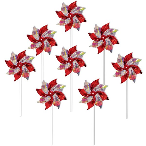 View Red & Silver Mylar Pinwheels - 8 PC