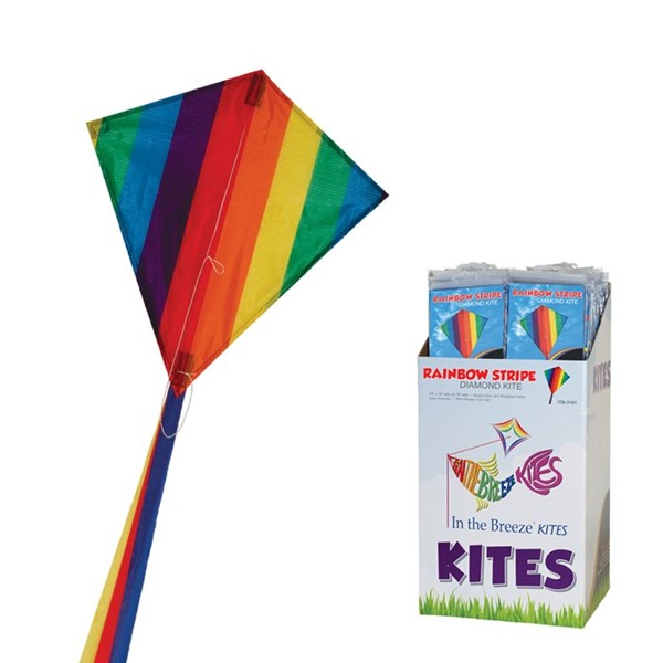 "View Rainbow Stripe 18"" Diamond Kite 36 PC POP Display"