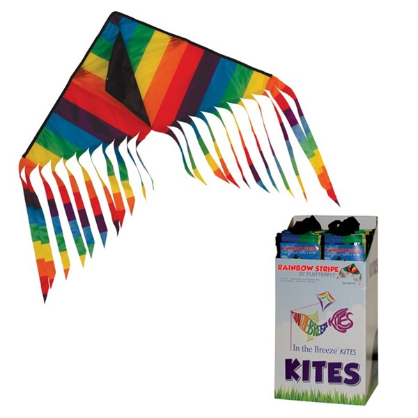 "View Rainbow Stripe 32"" Flutterfly Delta Kite 24 PC POP Display"