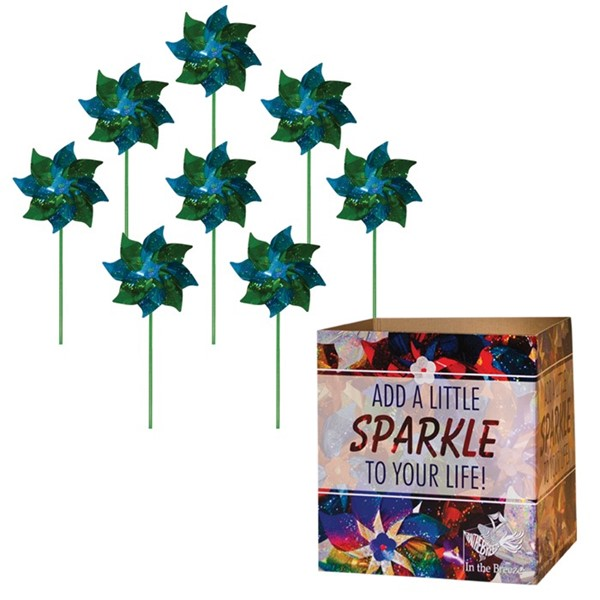 View Green & Teal Mylar Spirit Pinwheel 48 PC POP Display