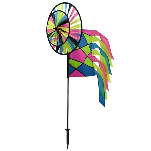 View Neon Colorblock Spinner Wheels with Garden Flag & Tails
