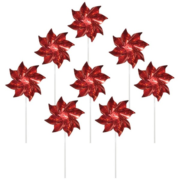 View Red Mylar Pinwheels - 8 PC