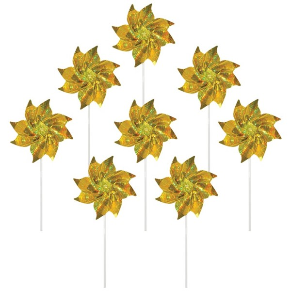 View Gold Mylar Pinwheels - 8 PC