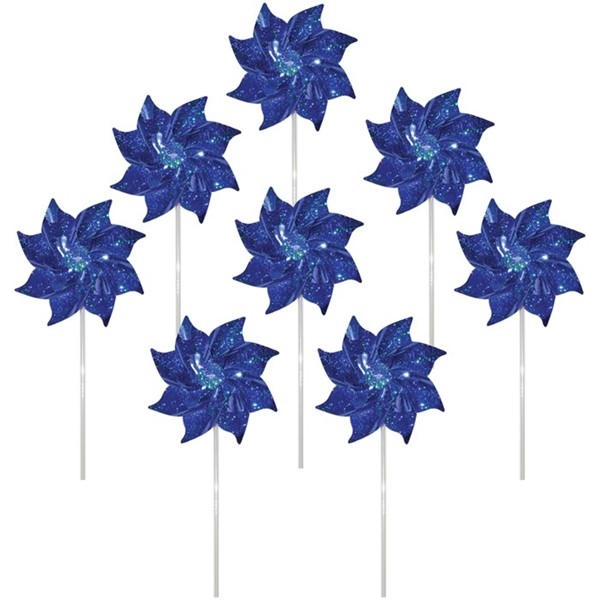 View Blue Mylar Pinwheels - 8 PC
