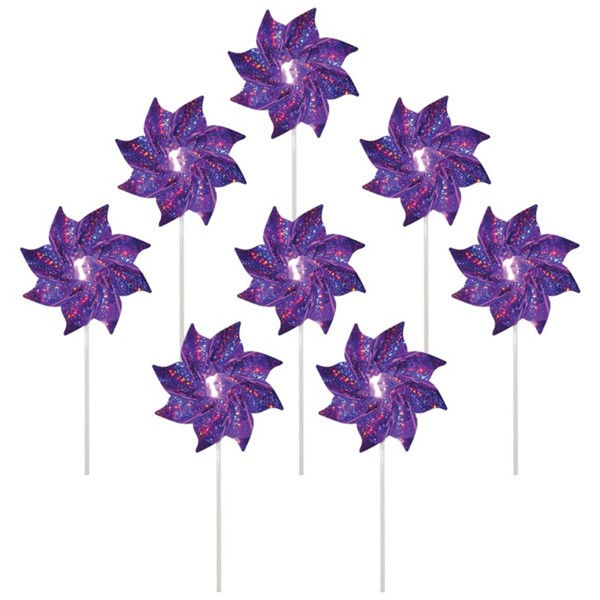View Purple Mylar Pinwheels - 8 PC