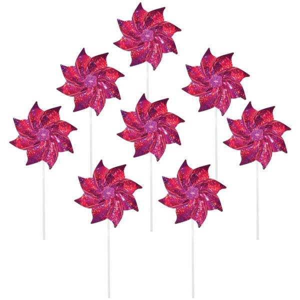 View Pink Mylar Pinwheels - 8 PC