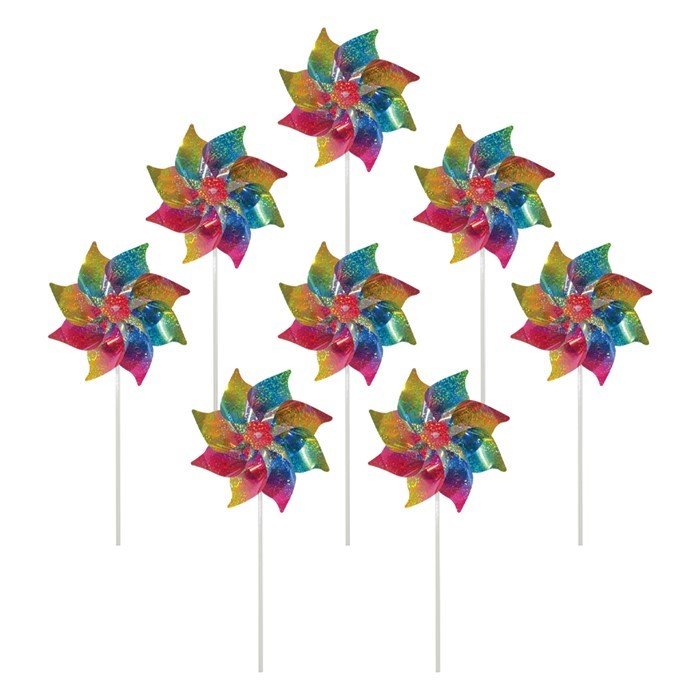 Rainbow Whirl Mylar Pinwheels - 8PC | In the Breeze