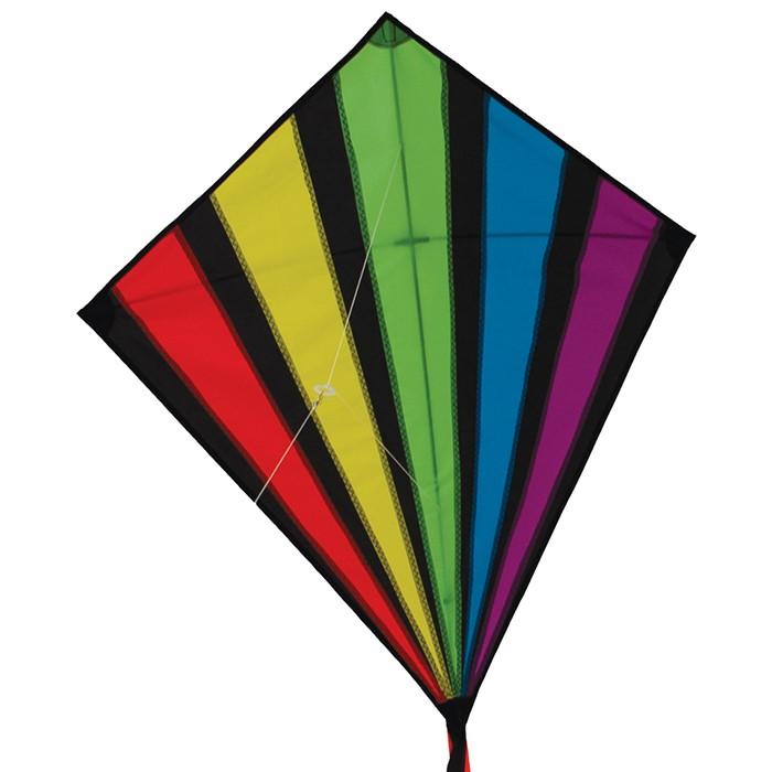 Rainbow Burst 39 Inch Diamond Kite In The Breeze