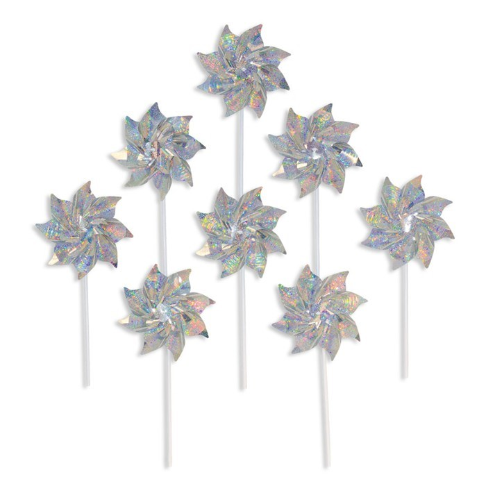 Silver Sparkle Pinwheels - 8 PC | In the Breeze