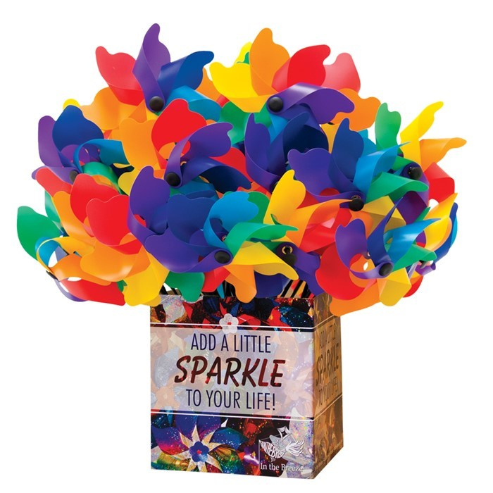 Rainbow Poly Petal Spinner 40 PC POP Display | In the Breeze
