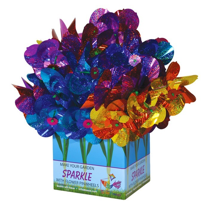 "8"" Flower Pinwheel with Leaves 48 PC POP Display 