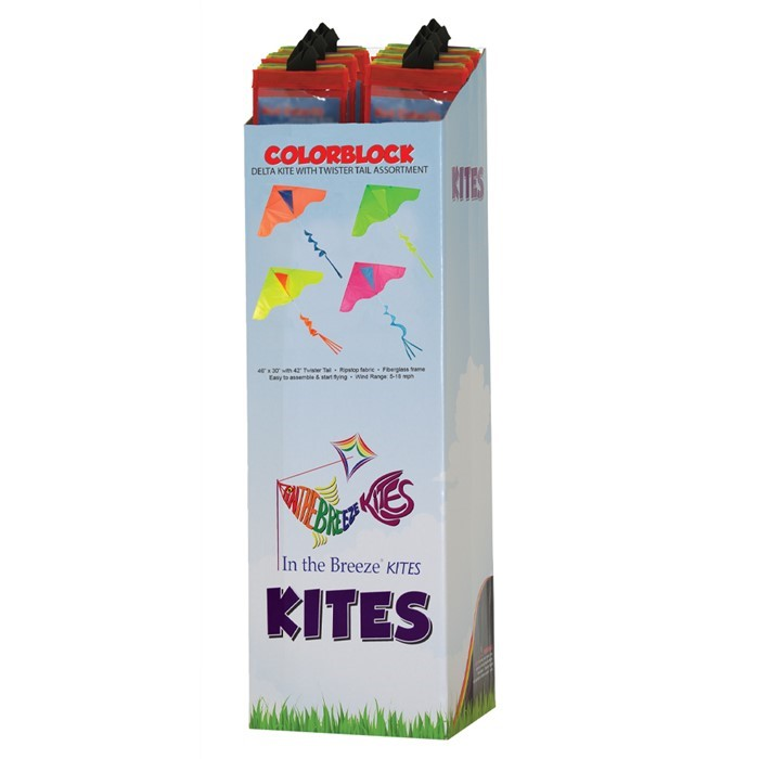 Colorblock Delta Kite with Twister Tail 24 PC Display | In the Breeze