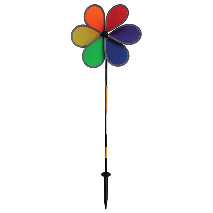 "Retroreflective Rainbow 12"" Flower Spinner 