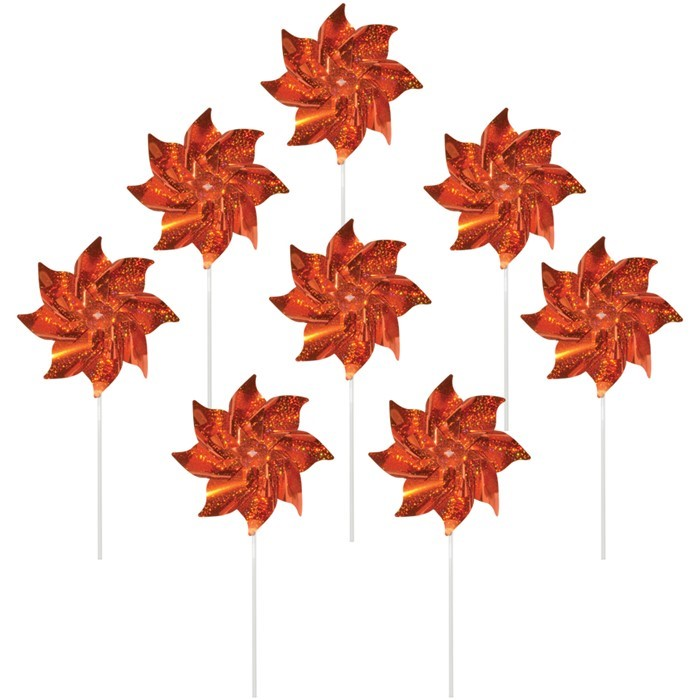 Orange Mylar Pinwheels - 8 PC | In the Breeze