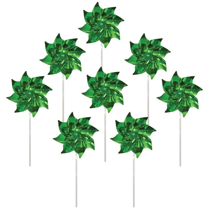 Green Mylar Pinwheels - 8 PC | In the Breeze