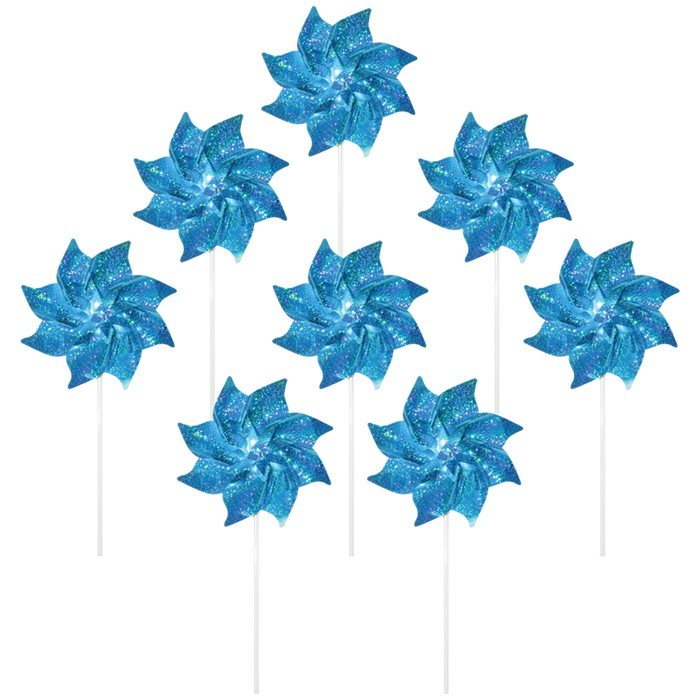 Teal Mylar Pinwheels - 8 PC | In the Breeze