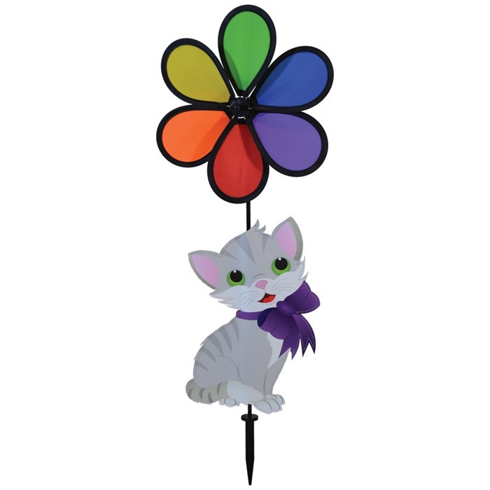"Kitten with 10"" Rainbow Flower Spinner 