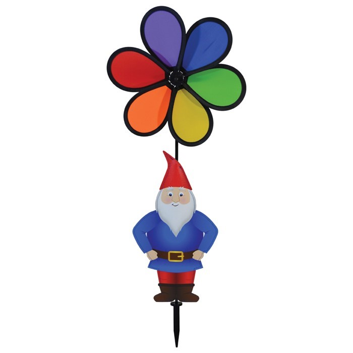 "Gnome with 10"" Rainbow Flower Spinner 