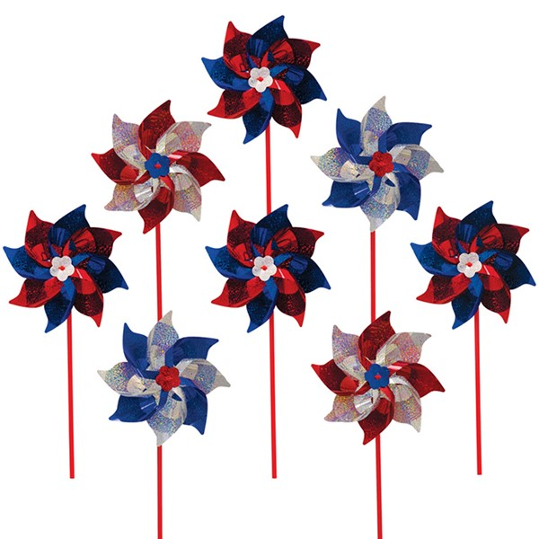 View Patriotic Mylar Pinwheels - 8 PC