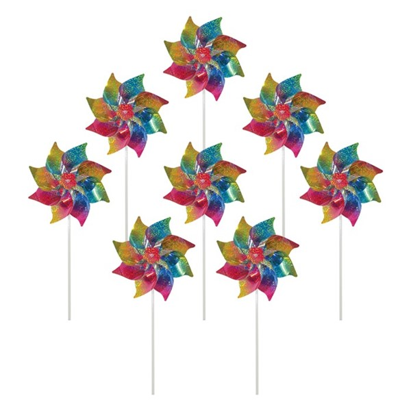 View Rainbow Whirl Mylar Pinwheels - 8PC
