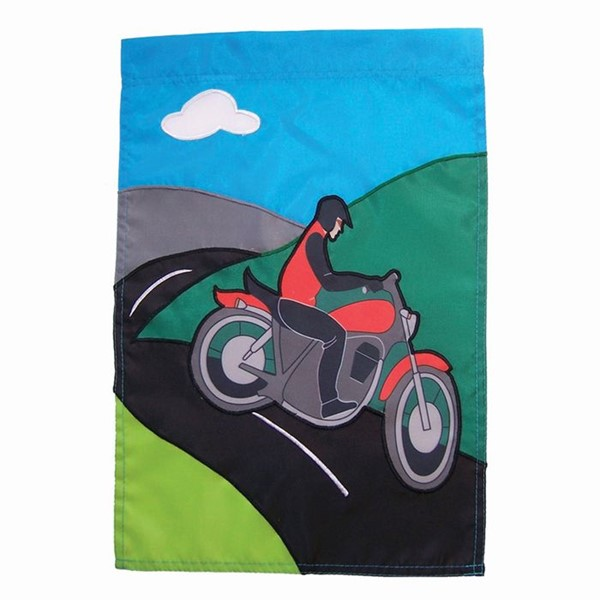 View Motorcycle Man Garden Flag*