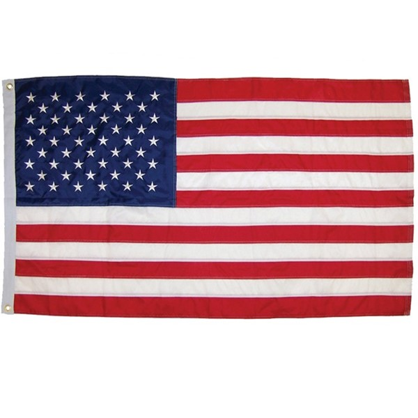 View US Flag Embroidered 3x5 Grommet Flag