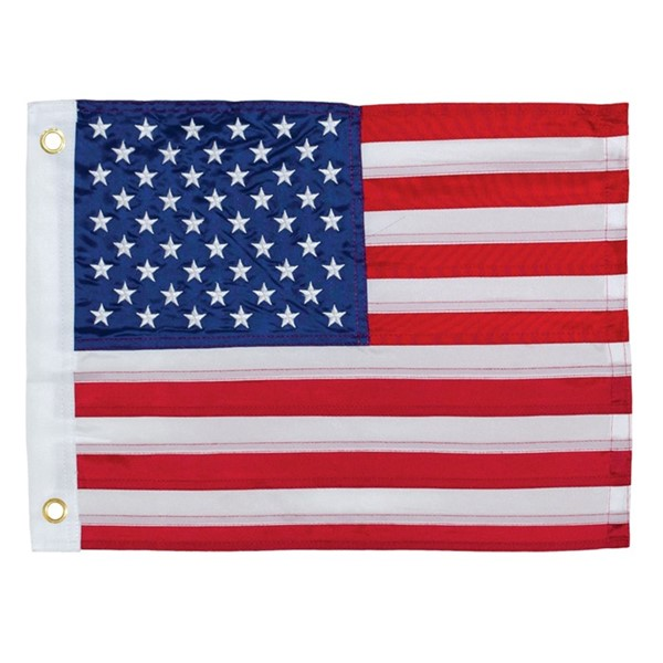 View US Flag Embroidered 12x18 Grommet Flag