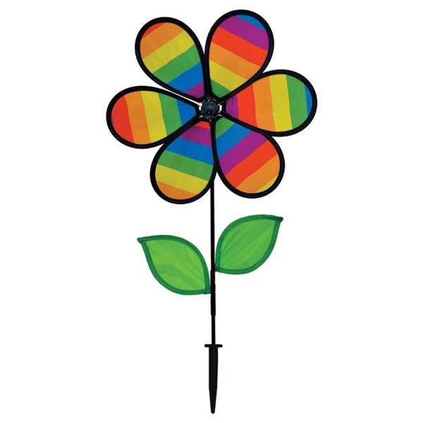 "View 12"" Rainbow Stripe Flower with Leaves"