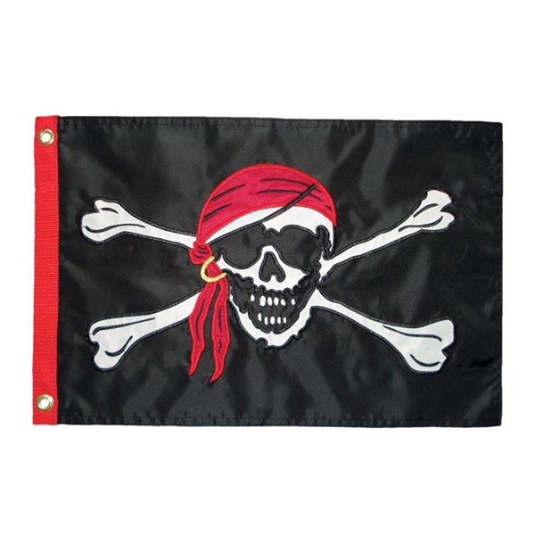View Jolly Roger Applique 12x18 Grommet Flag