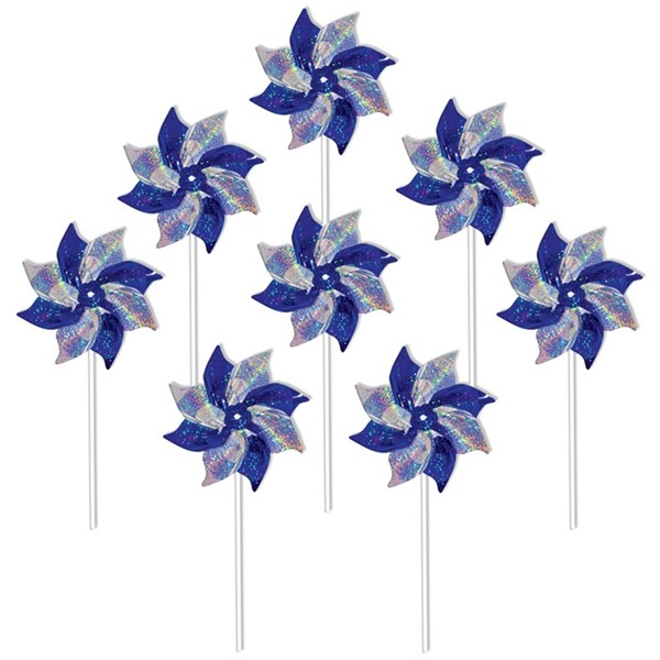 View Blue & Silver Mylar Pinwheels - 8 PC