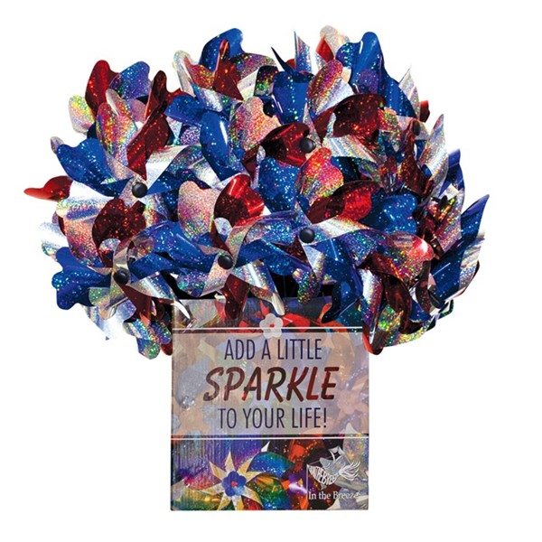 View Red, White & Blue Sparkle Pinwheel Spinner 40 PC POP Display
