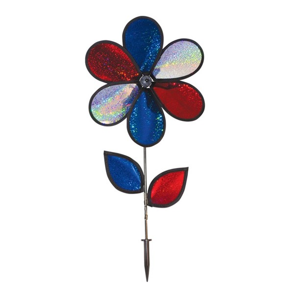 "View 12"" Red, White & Blue Sparkle Flower with Leaves"