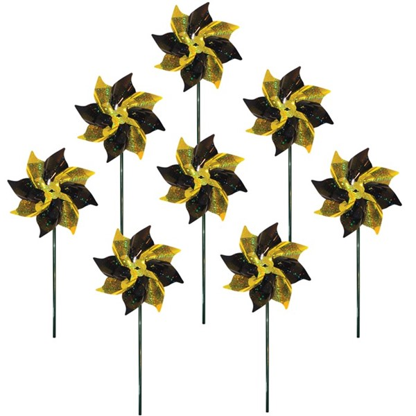 View Black & Yellow Spirit Pinwheels - 8 PC