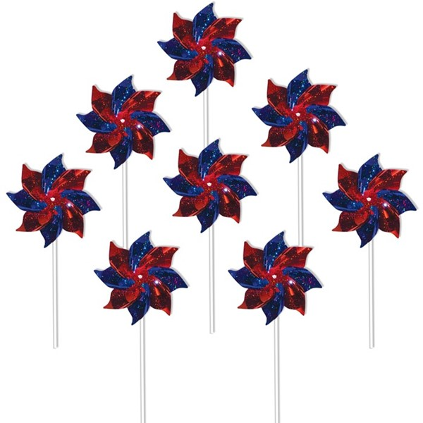 View Blue & Red Spirit Pinwheels - 8 PC