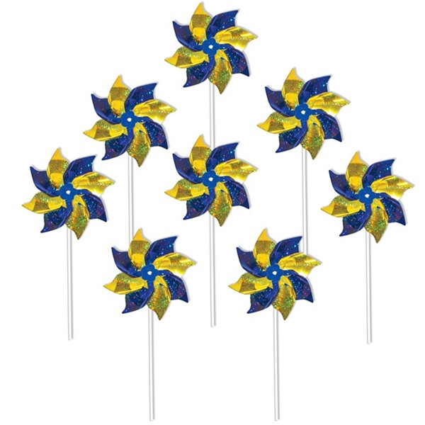 View Blue & Yellow Spirit Pinwheels - 8 PC