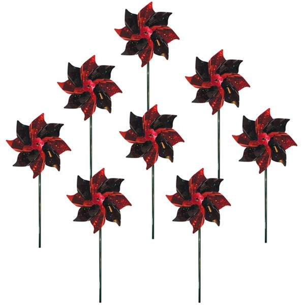 View Red & Black Spirit Pinwheels - 8 PC