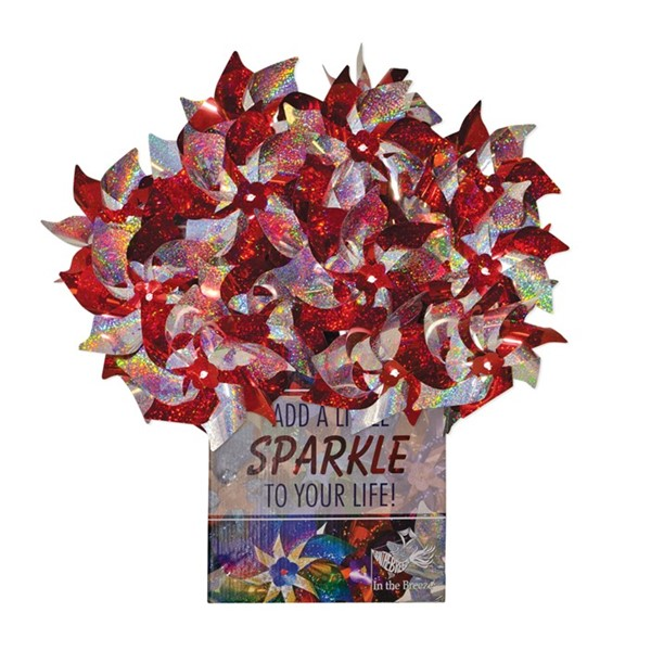 View Red & Silver Spirit Pinwheels 48 PC POP Display