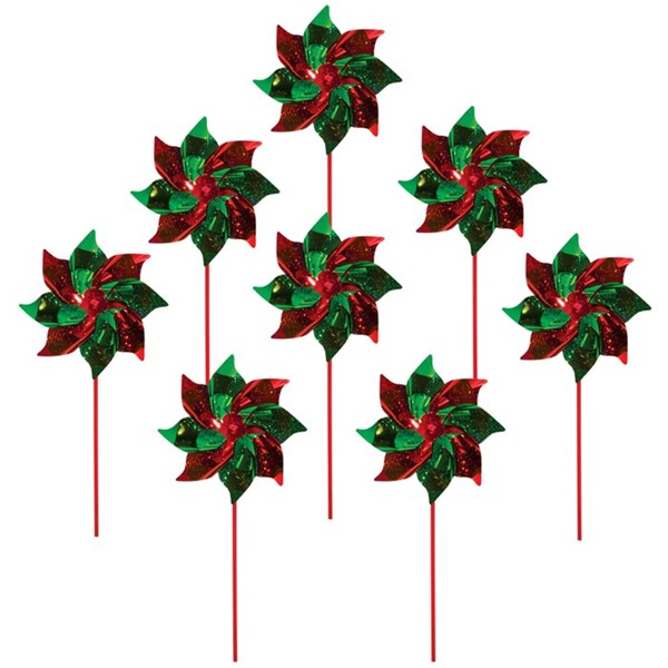 View Red & Green Mylar Pinwheels - 8 PC