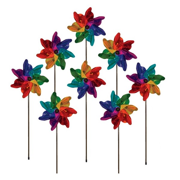 "View Rainbow Sparkle 8"" Pinwheel Spinner - 8 PC"