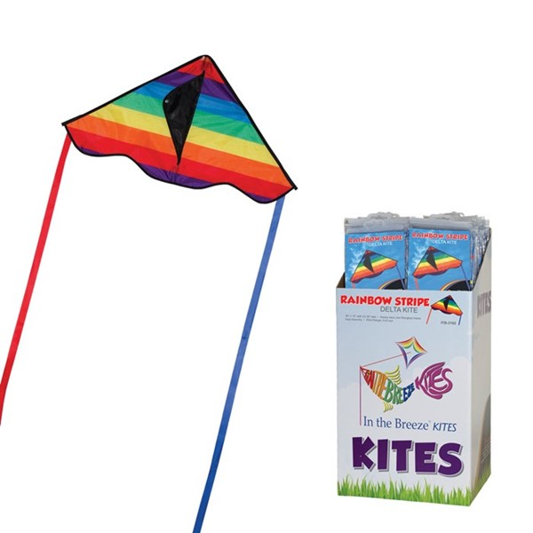 "View Rainbow Stripe 30"" Delta Kite 36 PC POP Display"