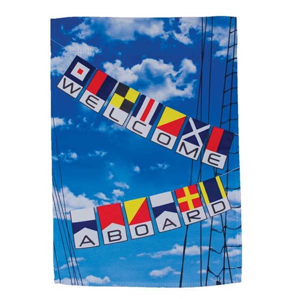 View Welcome Aboard Lustre Garden Flag