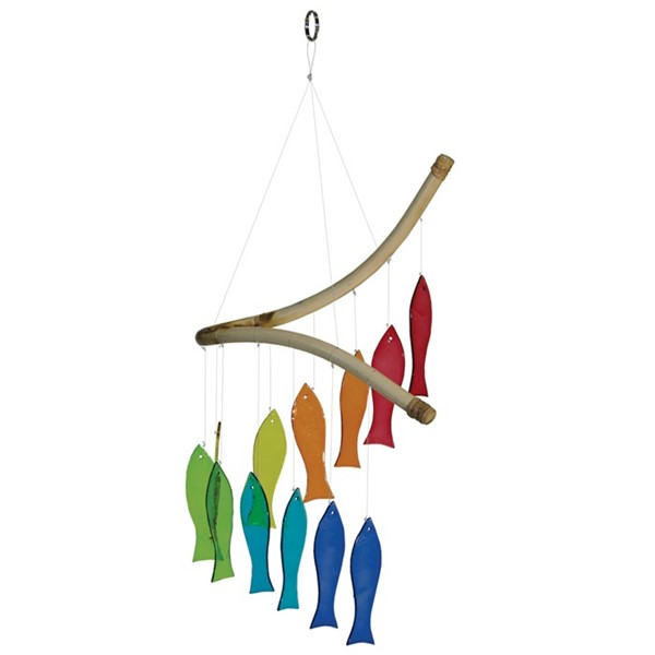 View Rainbow Fish Glass Mobile Wind Chime