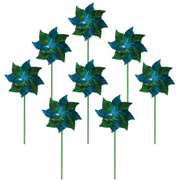 View Green & Teal Mylar Spirit Pinwheel - 8 PC